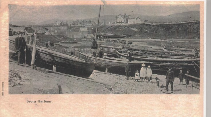 Fishing boats pulled up in Brora harbour, 1890s
