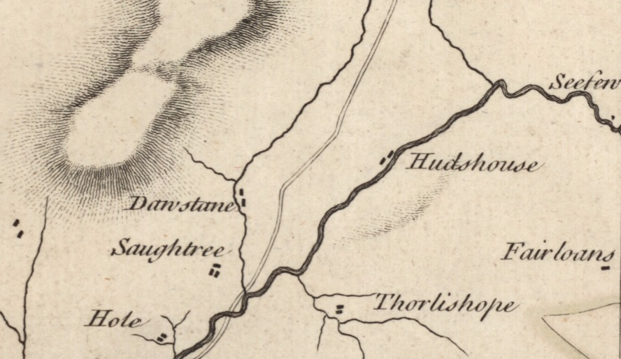 Detail from Matthew Stobie's Map of Roxburghshire or Tiviotdale (1770). The hill in question is the section of shading north of Thorlishope. Image: NLS.