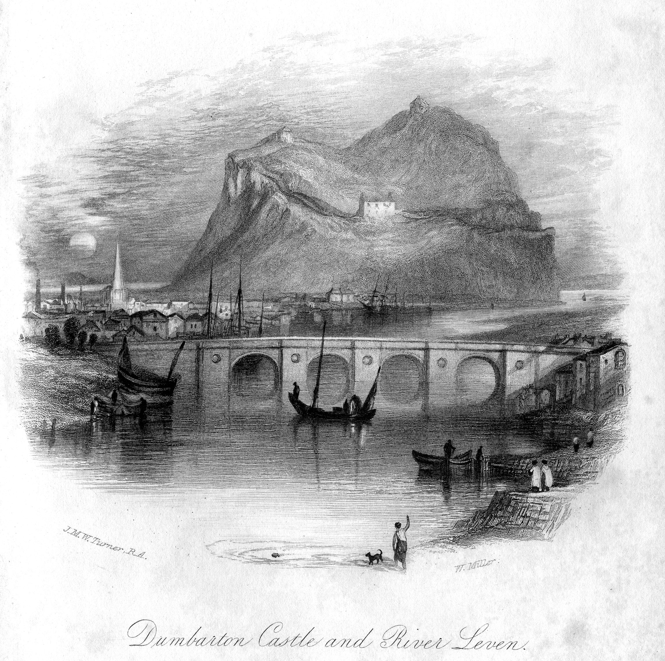 An engraving of Dumbarton Castle by William Miller.