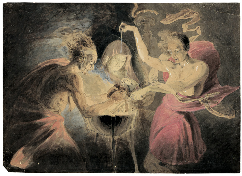 A watercolour 'The Three Witches of Macbeth' by John Downman.