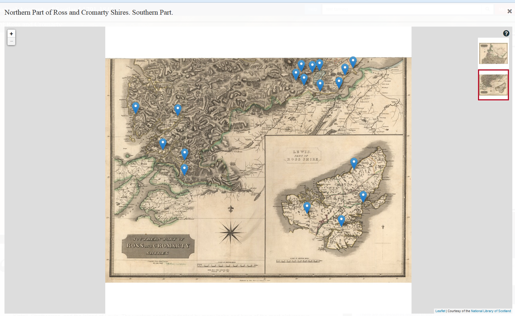 A screen-shot of an interactive map for the southern part of Northern Part of Ross and Cromarty Shires, taken from the Statistical Accounts of Scotland.
