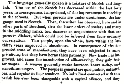 Excerpt from the New Statistical Account for Dalziel, Vol VI, 1845, p454.