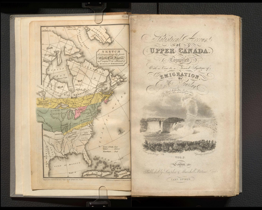 Engraved, illustrated title-pages of the Statistical Account of Upper Canada, Volume 2, 1822.