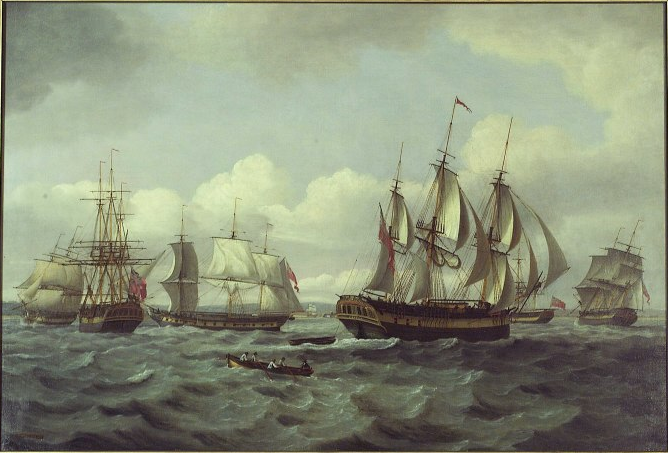 A painting called 'The Ship 'Castor' and Other Vessels in a Choppy Sea' by Thomas Luny. Dated 1802.