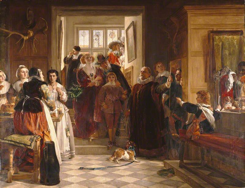 An image of the painting 'Coming Down to Dinner' by John Callcott Horsley, 1876.
