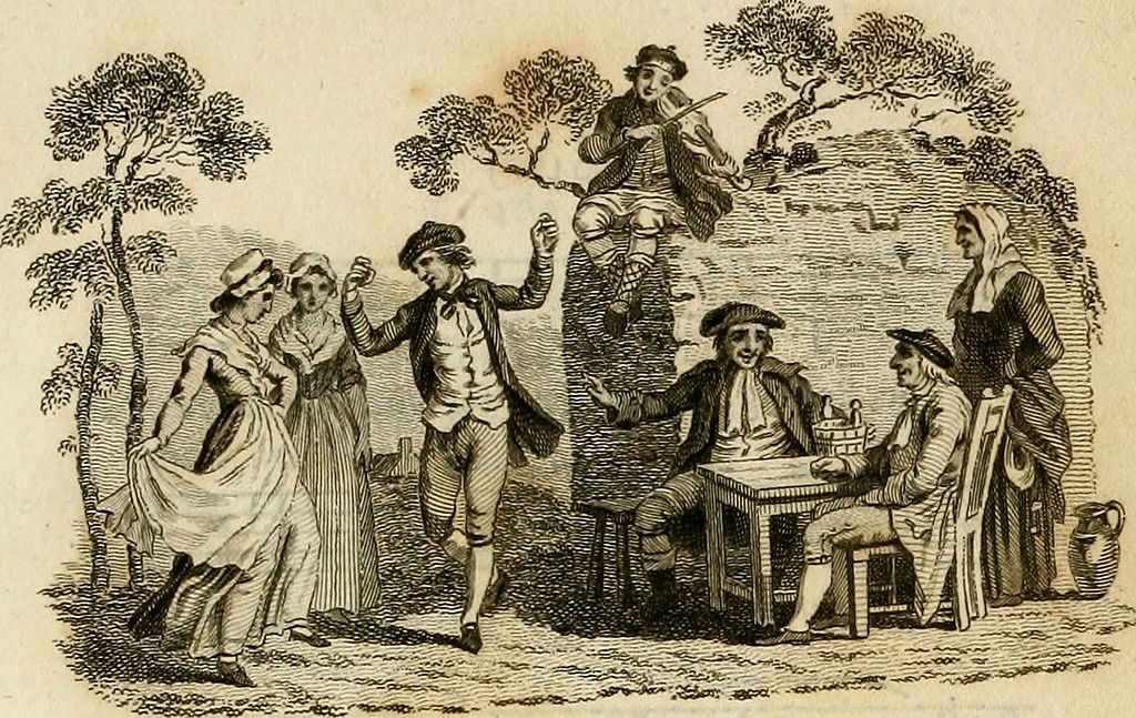 Image taken from the book 'Scottish Songs - in two volumes' (1794), showing people dancing and a man playing a violin.