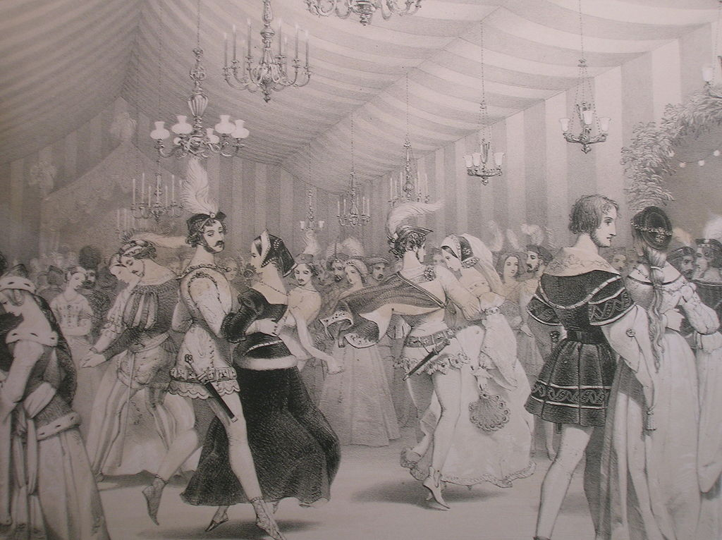 A print showing people dancing in the ballroom at Eglinton Castle, North Ayrshire, Scotland. 1840.