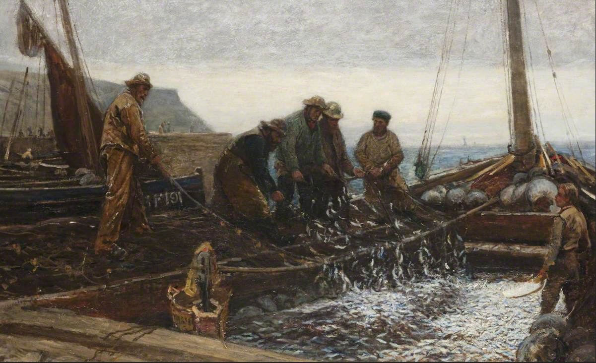 painting of fishermen with their haul of fish