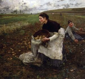 An image of the painting 'Recolte des Pommes de Terre' by Jules Bastien Lepage, 1879.
