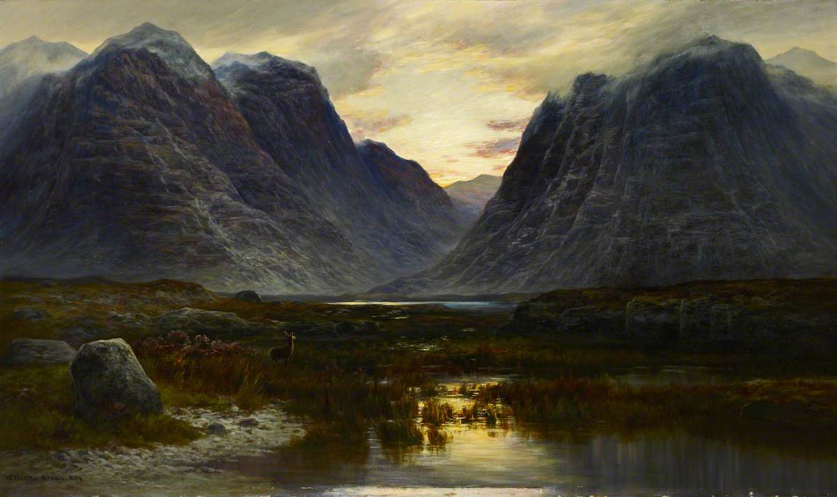 Brown, William Beattie; Coire-na-Faireamh, in Applecross Deer Forest, Ross-shire; 1883-84. Royal Scottish Academy of Art & Architecture; http://www.artuk.org/artworks/coire-na-faireamh-in-applecross-deer-forest-ross-shire-186783