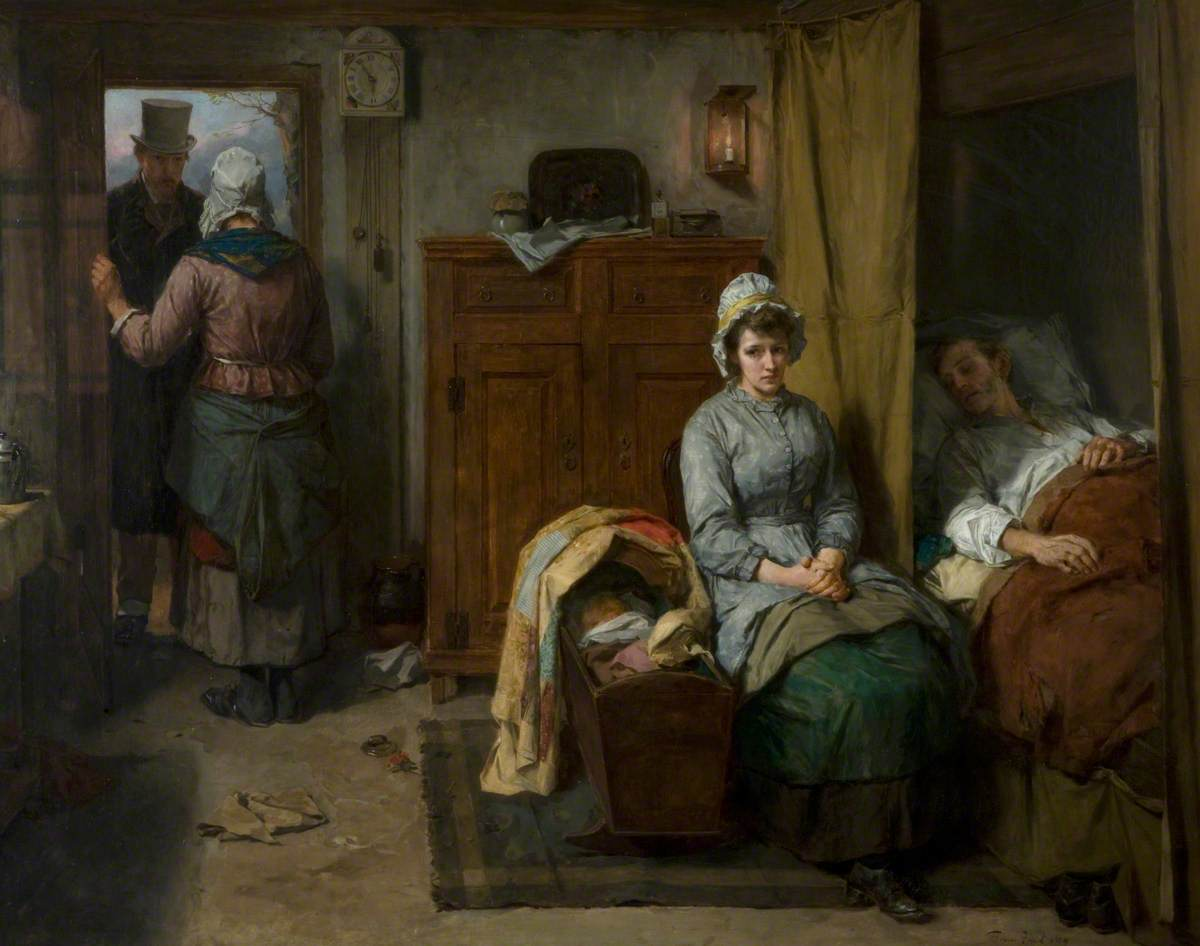 Painting called 'The Doctor's Visit' by Thomas Faed, 1889. Queen's University, Belfast; http://www.artuk.org/artworks/the-doctors-visit-168946