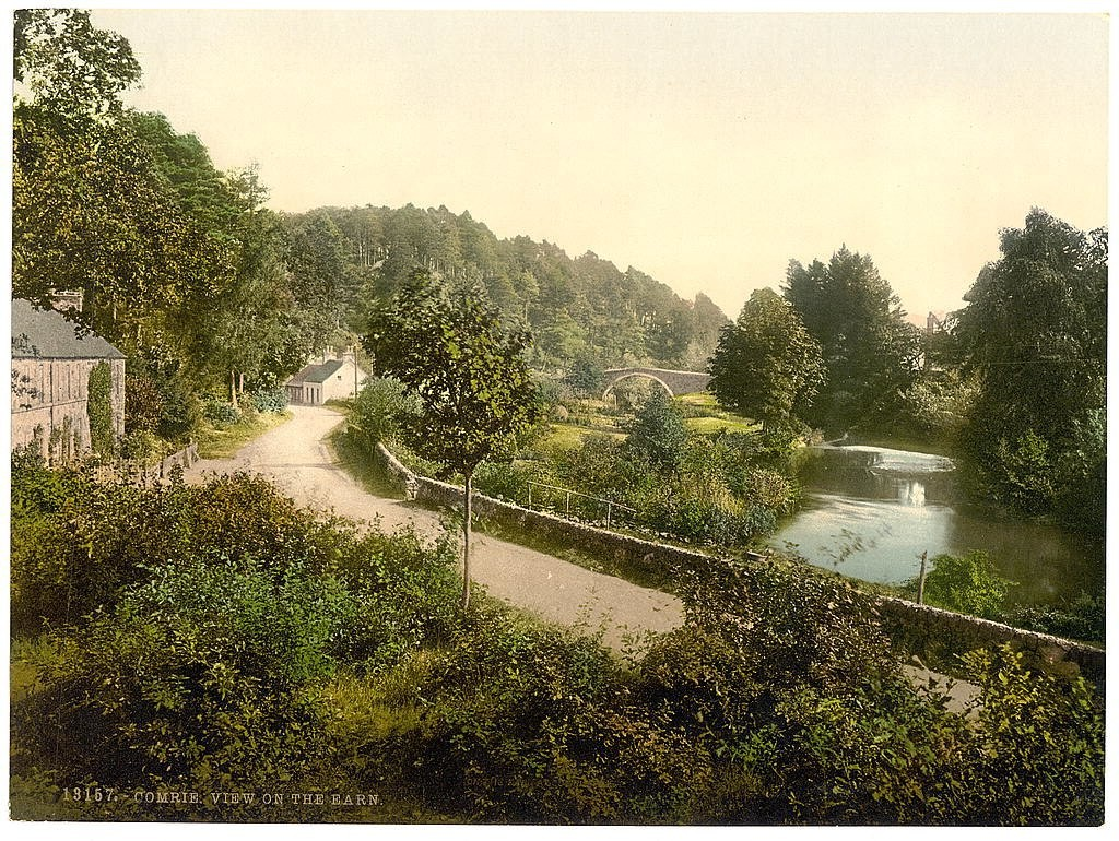 A postcard of a view on the Earn, Comrie, Scotland. Taken between ca. 1890 and ca. 1900.