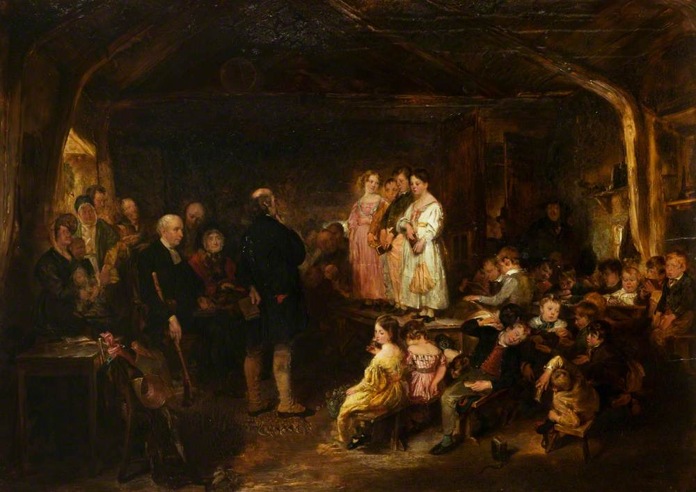 Painting by George Harvey called 'Catechising in a Scottish School'. Painted in 1832. Photo credit: Leicester Arts and Museums Service