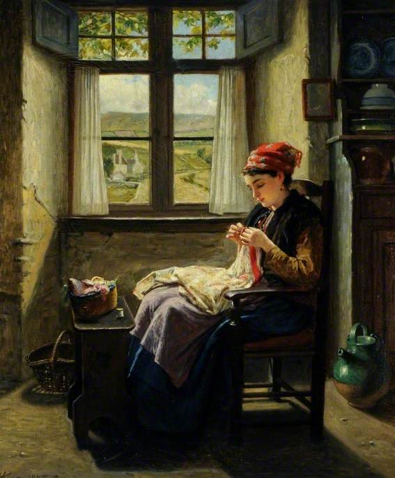 Painting by Haynes King of a girl at a window sewing.