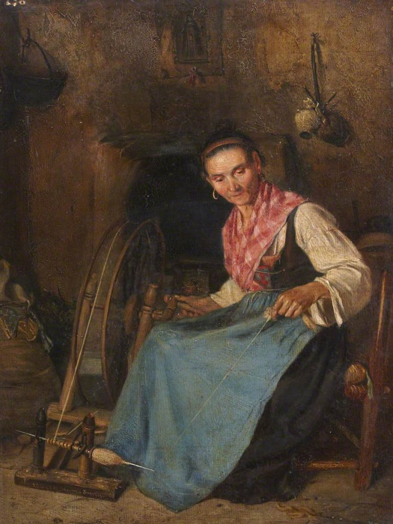 Painting called 'Woman Spinning' by Thomas Stuart Smith. Picture credit: The Stirling Smith Art Gallery & Museum.