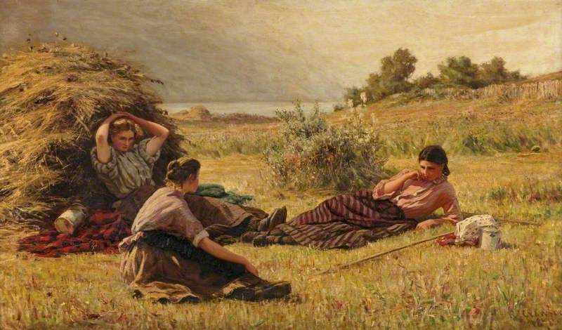 Painting called Midday Rest by Robert Cree Crawford, 1878, depicting three women taking a break while working in the field.