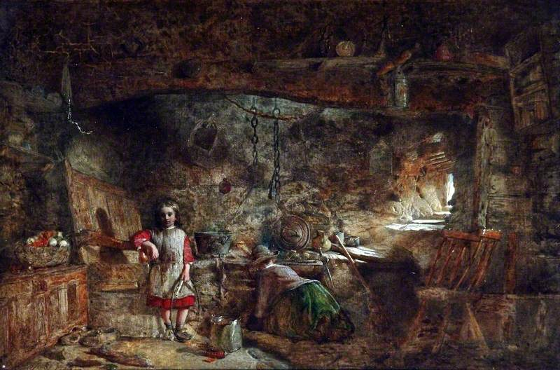 A painting called 'A Cottage Interior' by Alfred A. Provis, dated 1869.