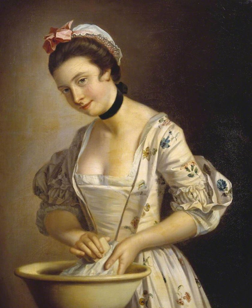 A painting called 'A Lady's Maid Soaping Linen', c.1765-82, by Henry Robert Morland.