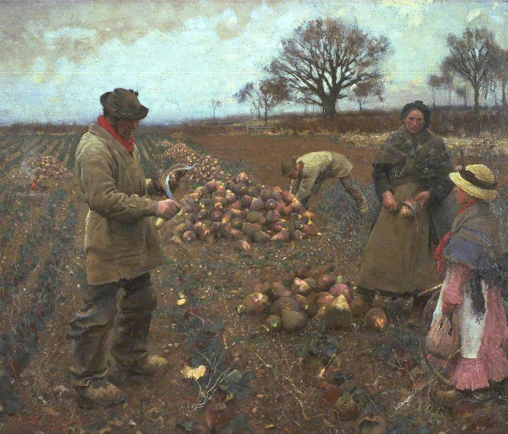 Painting showing two men, a woman and girl working in a field harvesting turnips.