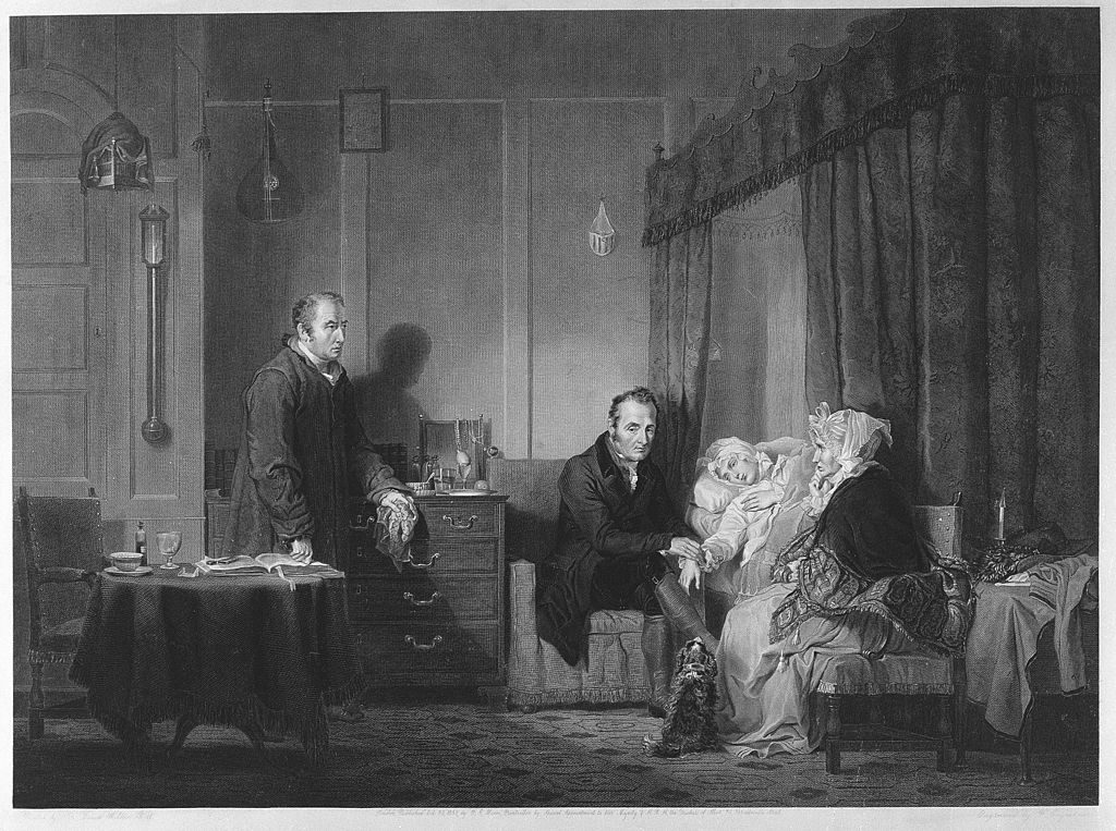 Engraving by F. Engleheart, 1838, after Sir D. Wilkie, called 'A bedridden sick young woman being examined by a doctor'