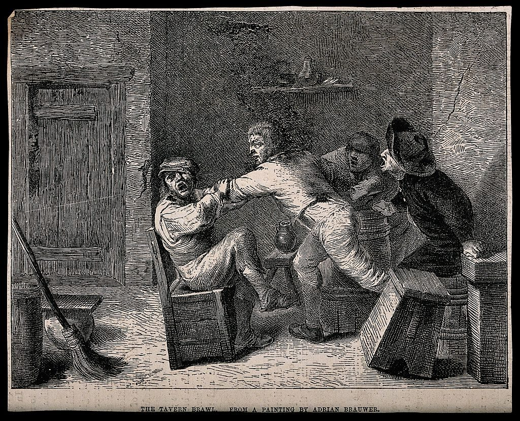 A 19th century wood engraving called 'A drunken brawl in a tavern with men shouting encouragement'