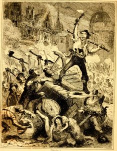 """An image entitled 'Wilkes Riots' taken from page 271 of """"The chronicles of crime, or The new Newgate calendar. Being a series of memoirs and anecdotes of notorious characters who have outraged the laws of Great Britain from the earliest period to the present time..."""""""