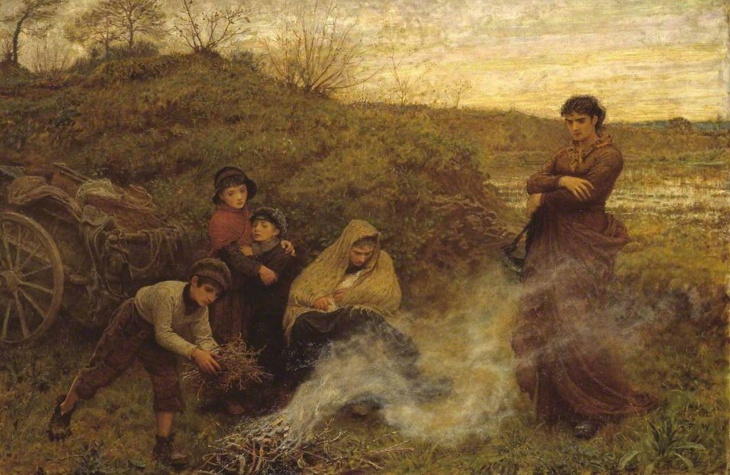Painting by Frederick Walker entitled 'The Vagrants'.
