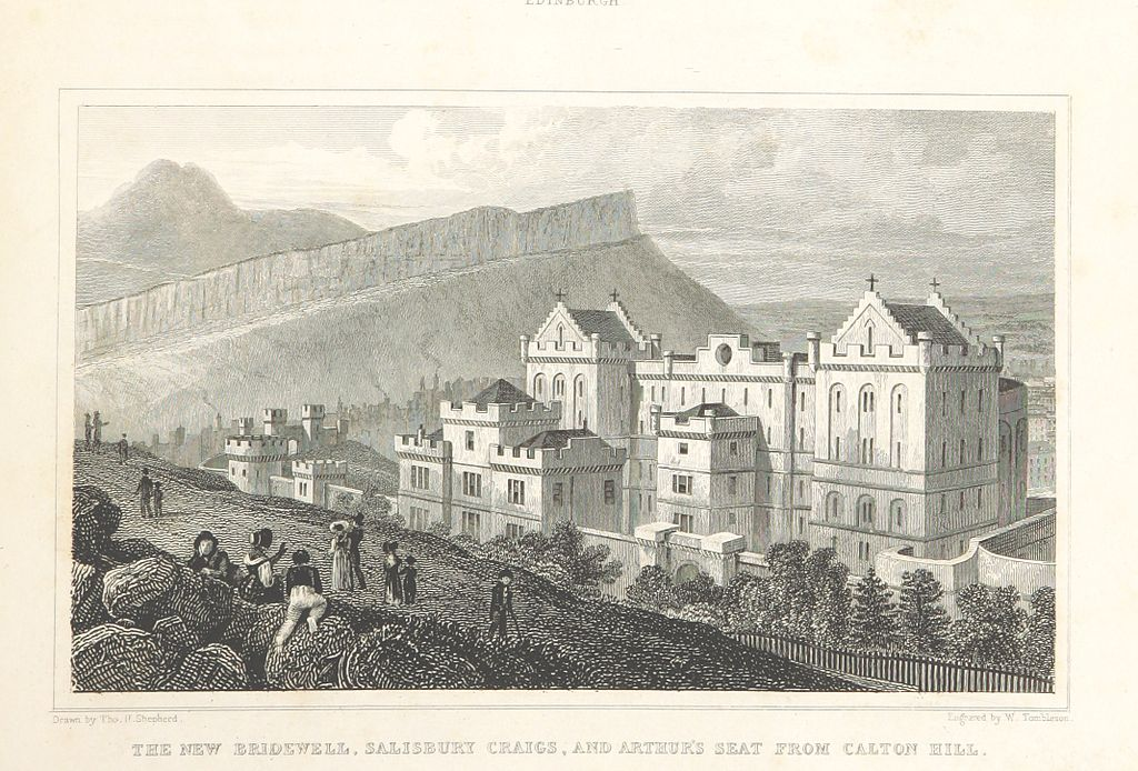 An image of the new Bridewell, Salisbury Crags, and Arthur's Seat from Calton Hill, Edinburgh by Thomas H. Shepherd, dated 1829