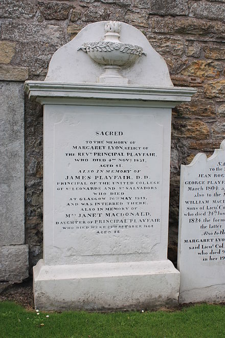 The memorial to Rev James Playfair, St Andrews Cathedral churchyard